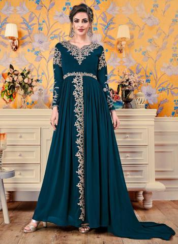 Rama Embroidery Work Georgette Festival Wear Gown