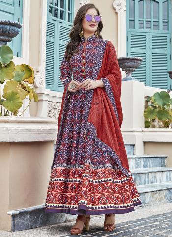 Blue Silk Festival Wear Digital Printed Gown