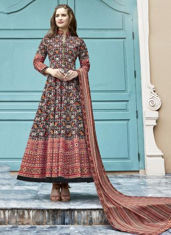 Brown Silk Festival Wear Digital Printed Gown