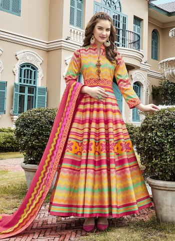 Multi Color Silk Festival Wear Digital Printed Gown
