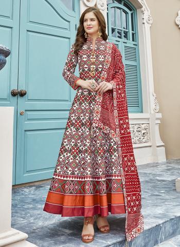 Red Silk Festival Wear Digital Printed Gown