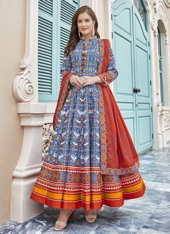 Royal Blue Silk Festival Wear Digital Printed Gown
