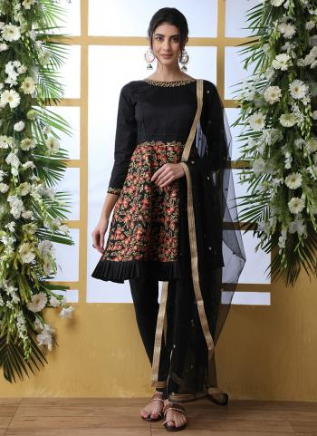 Black Art Silk Festival Wear Embroidery Work Salwar Suit