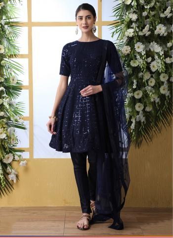 Navy Blue Georgette Festival Wear Sequins Work Salwar Suit