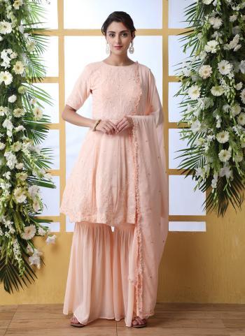 Peach Georgette Festival Wear Thread Work Sharara Suit