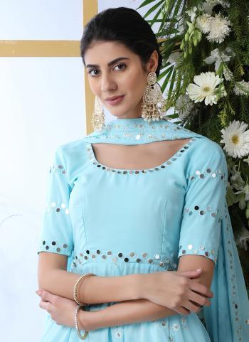 Sky Blue Georgette Festival Wear Mirror Work Salwar Suit