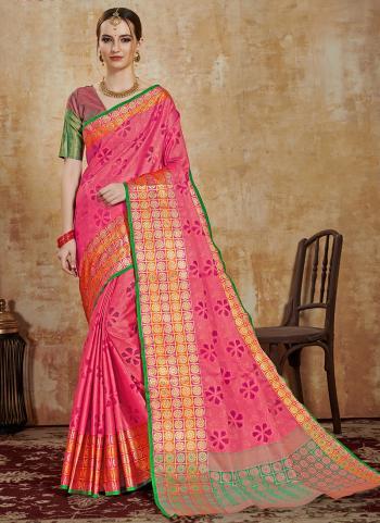 Pink Art Silk Festival Wear Weaving Saree