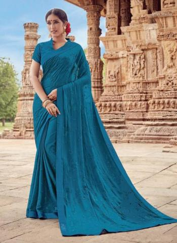 Blue Georgette Casual Wear Embroidery Work Saree