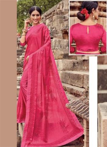 Dark Pink Georgette Casual Wear Embroidery Work Saree