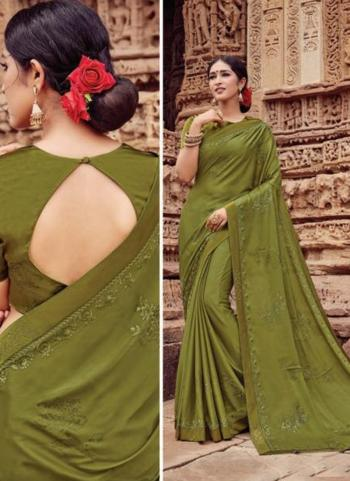 Green Georgette Casual Wear Embroidery Work Saree