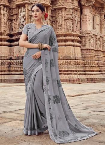 Grey Georgette Casual Wear Embroidery Work Saree