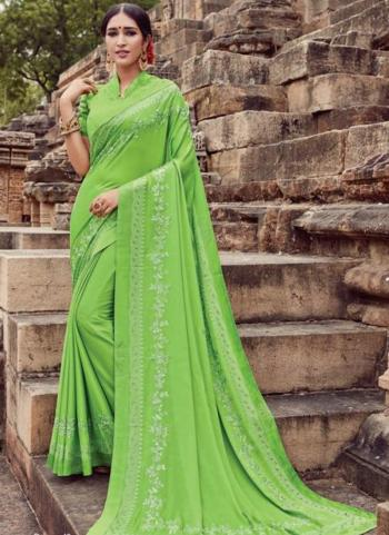 Light Green Georgette Casual Wear Embroidery Work Saree
