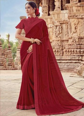 Maroon Georgette Casual Wear Embroidery Work Saree