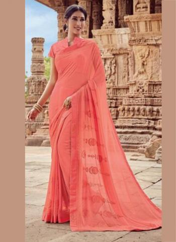Pink Georgette Casual Wear Embroidery Work Saree