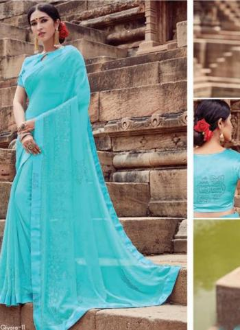Sky Blue Georgette Casual Wear Embroidery Work Saree