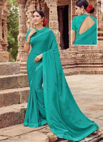 Turquoise Georgette Casual Wear Embroidery Work Saree
