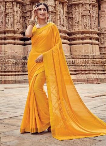 Yellow Georgette Casual Wear Embroidery Work Saree