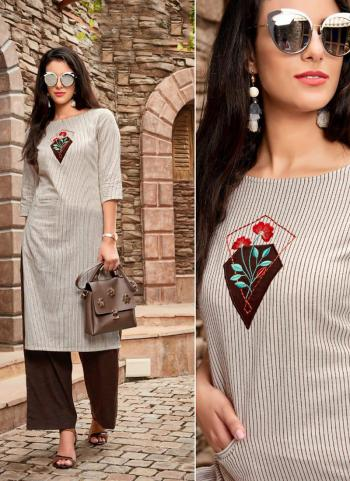 Cream Cotton Regular Wear Embroidery Work Kurti With Palazzo