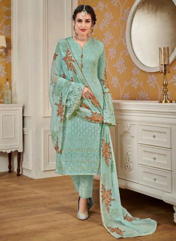 Pista Green Faux Georgette Festival Wear Embroidery Work Churidar Suit