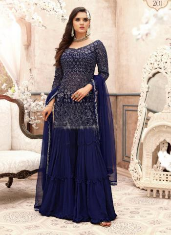 Blue Georgette Wedding Wear Embroidery Work Sharara Suit