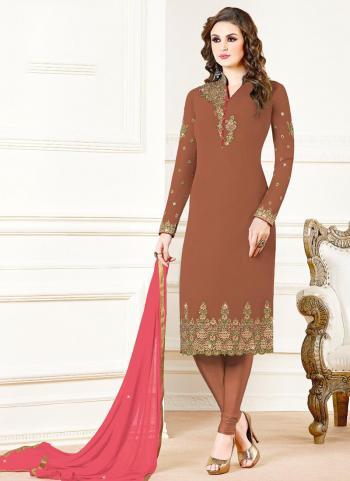Brown Georgette Festival Wear Embroidery Work Churidar Suit