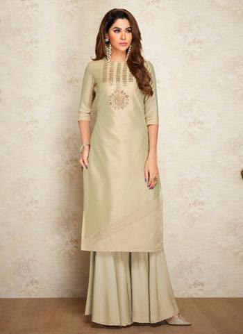 Beige Silk Casual Wear Embroidery Work Kurti With Palazzo