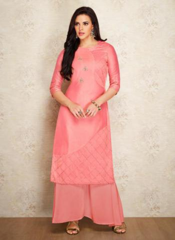 Pink Silk Casual Wear Embroidery Work Kurti With Palazzo