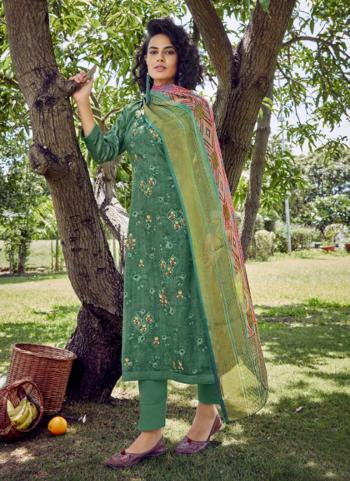 Green Cotton Satin Daily Wear Embroidery Work Straight Suit