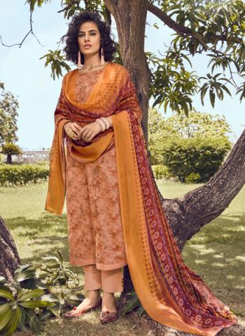 Peach Cotton Satin Daily Wear Embroidery Work Straight Suit