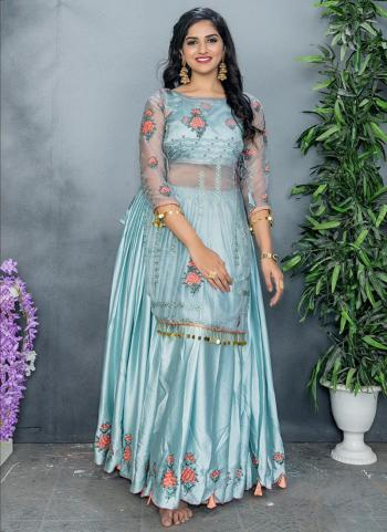 Grey Organza Party Wear Embroidery Work Sharara Suit