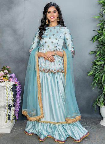 Pastel Blue Satin Party Wear Embroidery Work Sharara Suit