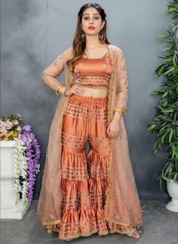 Rust Organza Party Wear Embroidery Work Sharara Suit