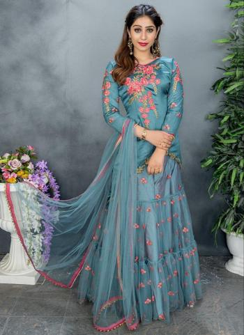 Sky Blue Chinnon Party Wear Embroidery Work Sharara Suit