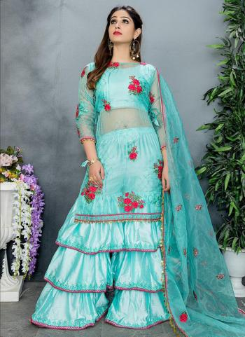 Sky Blue Organza Party Wear Embroidery Work Sharara Suit