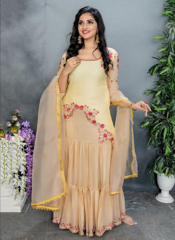 Yellow Bemberg Party Wear Embroidery Work Sharara Suit