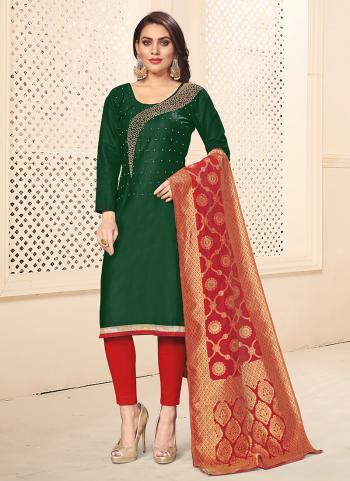 Dark Green Cotton Daily Wear Swarovski Work Churidar Suit