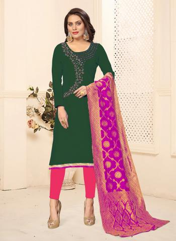 Green Cotton Daily Wear Swarovski Work Churidar Suit