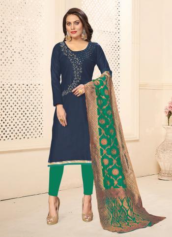 Navy Blue Cotton Daily Wear Swarovski Work Churidar Suit