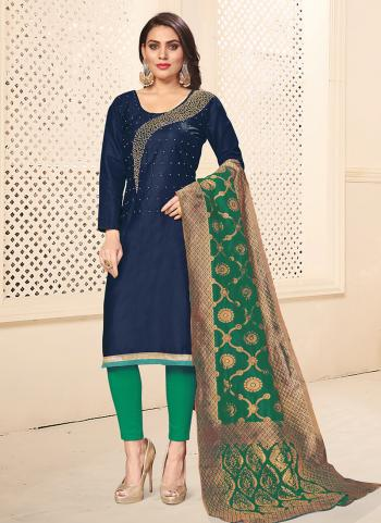 Cotton Navy Blue Daily Wear Swarovski Work Churidar Suit