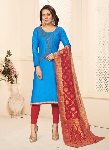 Sky Blue Cotton Daily Wear Swarovski Work Churidar Suit