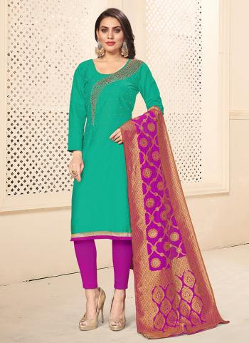 Teal Cotton Daily Wear Swarovski Work Churidar Suit