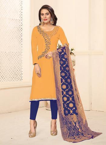 Yellow Cotton Daily Wear Swarovski Work Churidar Suit