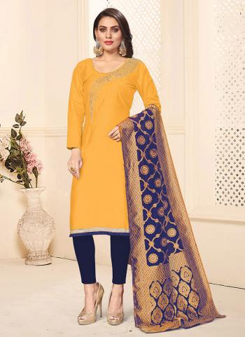 Yellow And Blue Cotton Daily Wear Swarovski Work Churidar Suit