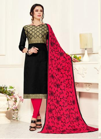 Black Banarasi Silk Regular Wear Zari Work Churidar Suit
