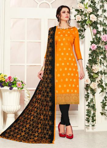 Yellow Banarasi Silk Regular Wear Zari Work Churidar Suit