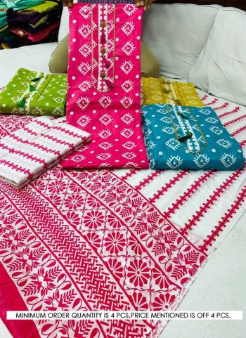 Pink Cotton Casual Wear Printed Work Salwar Suit