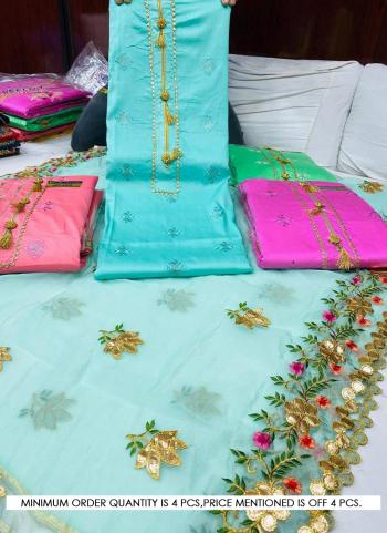 Sky Blue Cotton Casual Wear Embroidery Work Salwar Suit