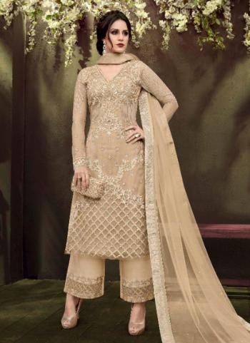 Beige Net Party Wear Embroidery Work Palazzo Suit