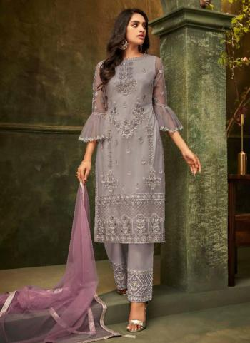 Grey Net Party Wear Embroidery Work Palazzo Suit