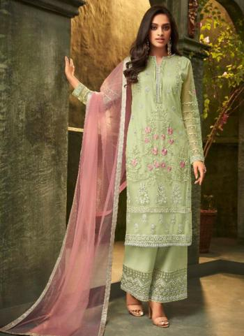 Light Green Net Party Wear Embroidery Work Palazzo Suit